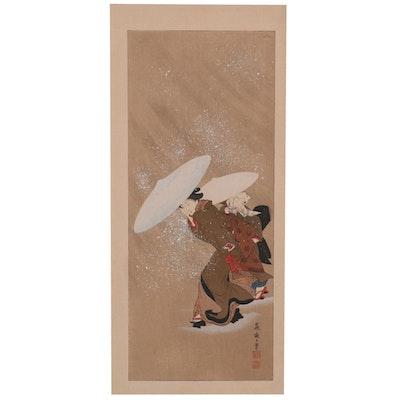 "Woodblock after Kitagawa Fujimaro ""Outing in the Snow Storm"""