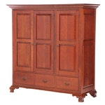 David T. Smith & Co. Chippendale Style Paneled Cherrywood Media Cabinet