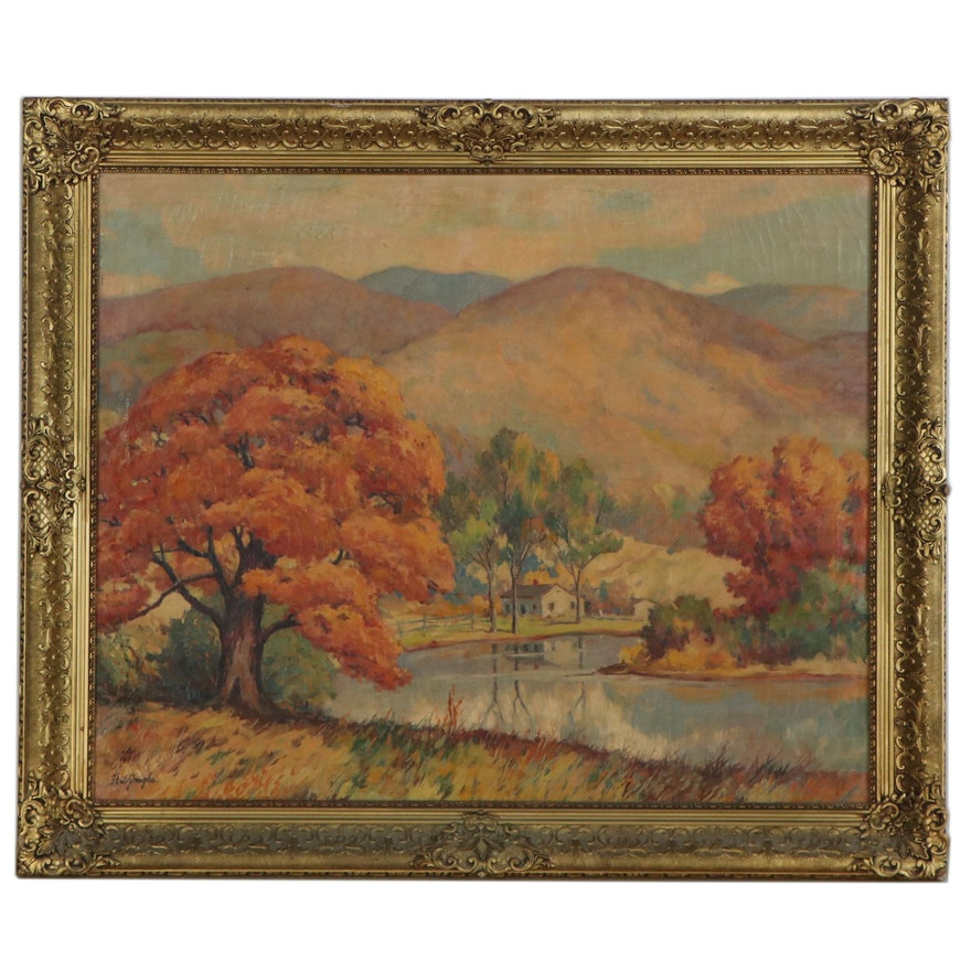 """Landscape Oil Painting """"Ozark Mountains,"""" Early 20th Century"""