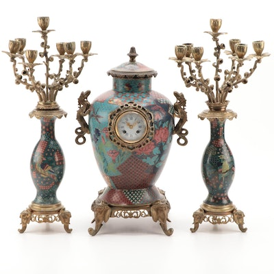 Cloisonné Brass Mounted Mantel Garniture Set, Early to Mid 20th Century