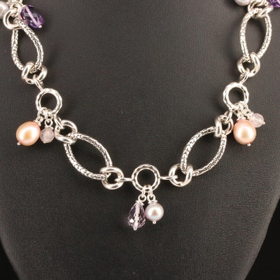 Michael Dawkins Link Necklace with Amethyst, Rose Quartz and Pearl in Sterling