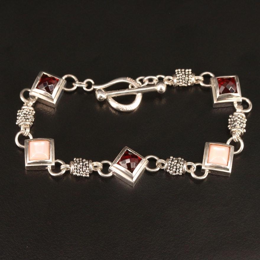 Michael Dawkins Sterling Silver Garnet and Mother of Pearl Link Bracelet