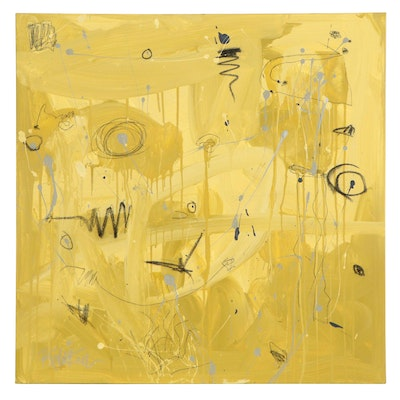 "Robbie Kemper Abstract Acrylic Painting ""Yellow Sketches,"" 21st Century"