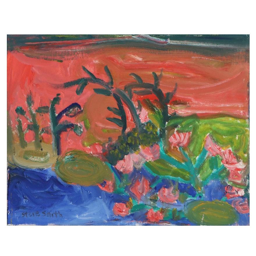 Steve Smith Folk Art Landscape Oil Painting