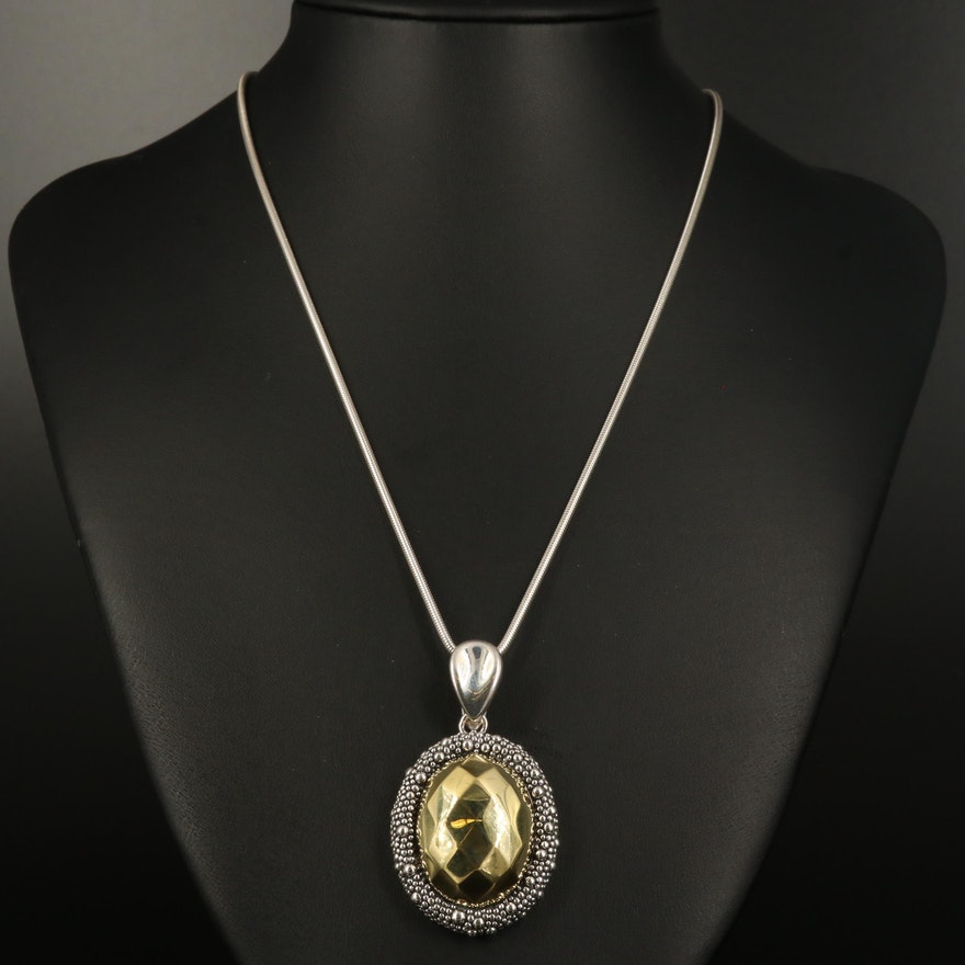 Michael Dawkins Sterling Enhancer Pendant on Fine Silver Necklace