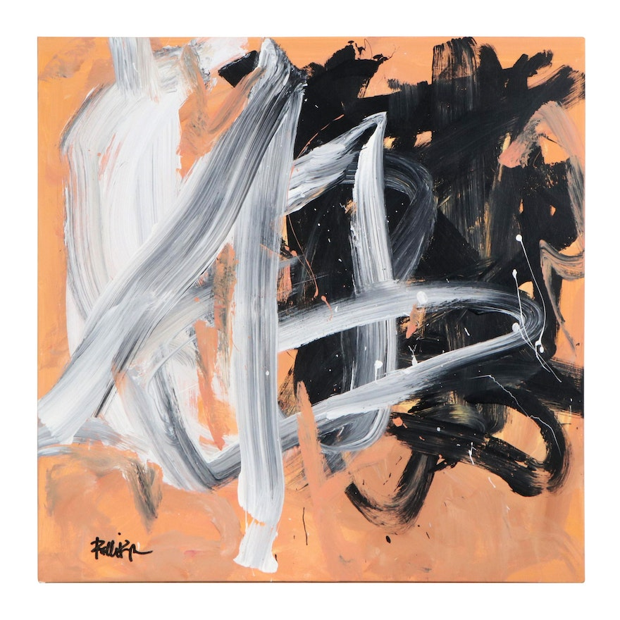"""Robbie Kemper Abstract Acrylic Painting """"Warms under Swirls,"""" 21st Century"""