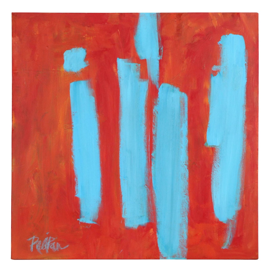"""Robbie Kemper Abstract Acrylic Painting """"Blue Marks on Orange,"""" 21st Century"""