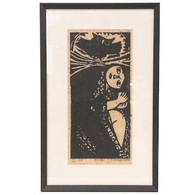 """Iwao Akiyama Woodblock """"Hour of the Rat,"""" 1973"""