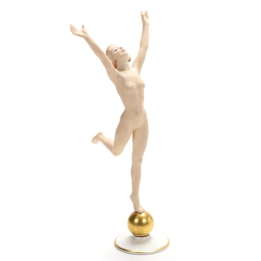 Hutschenreuther Bisque Porcelain Female Nude Figurine, Mid-20th Century