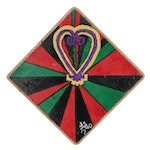 Emory Biko Mixed Media Painting of Sankofa Heart