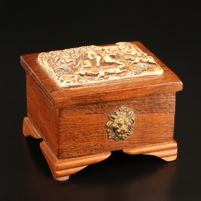 Wooden Box with Molded Resin Relief Fox Hunting Scene, Mid-20th Century