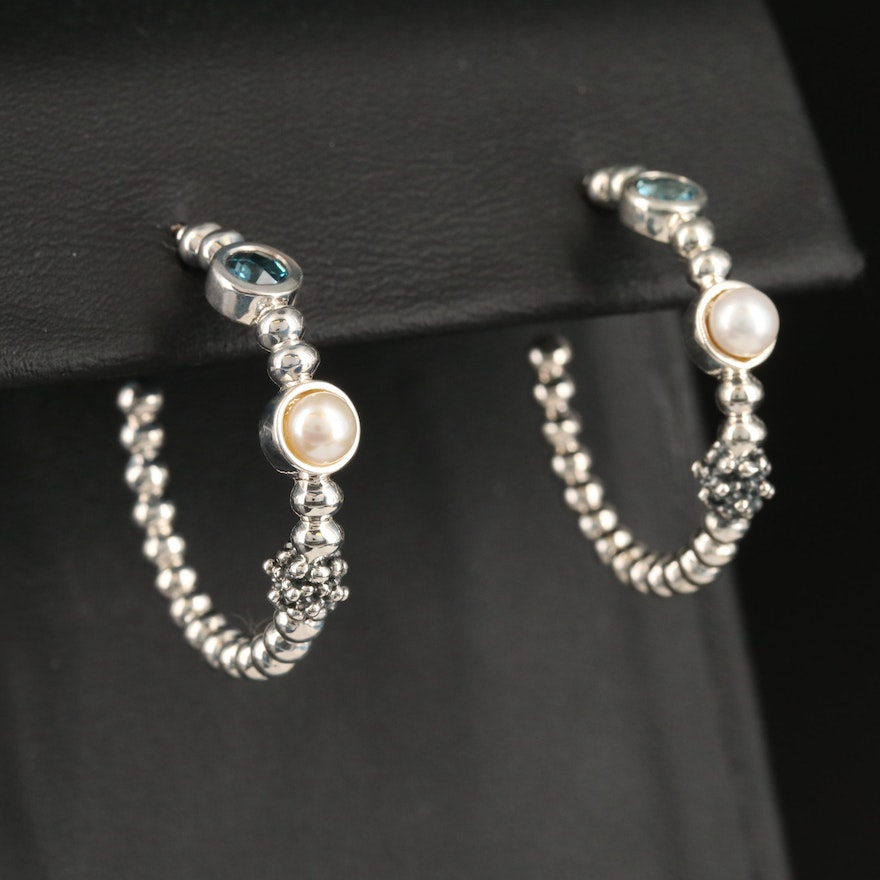 Michael Dawkins Sterling Topaz and Pearl Hoop Earrings