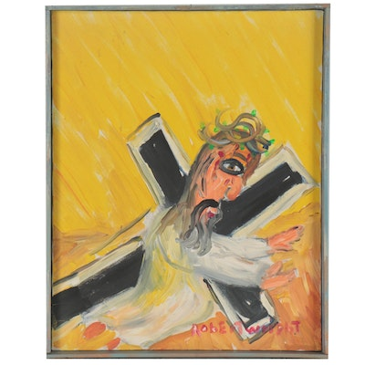 Robert Wright Acrylic Painting of Jesus Falling with the Cross