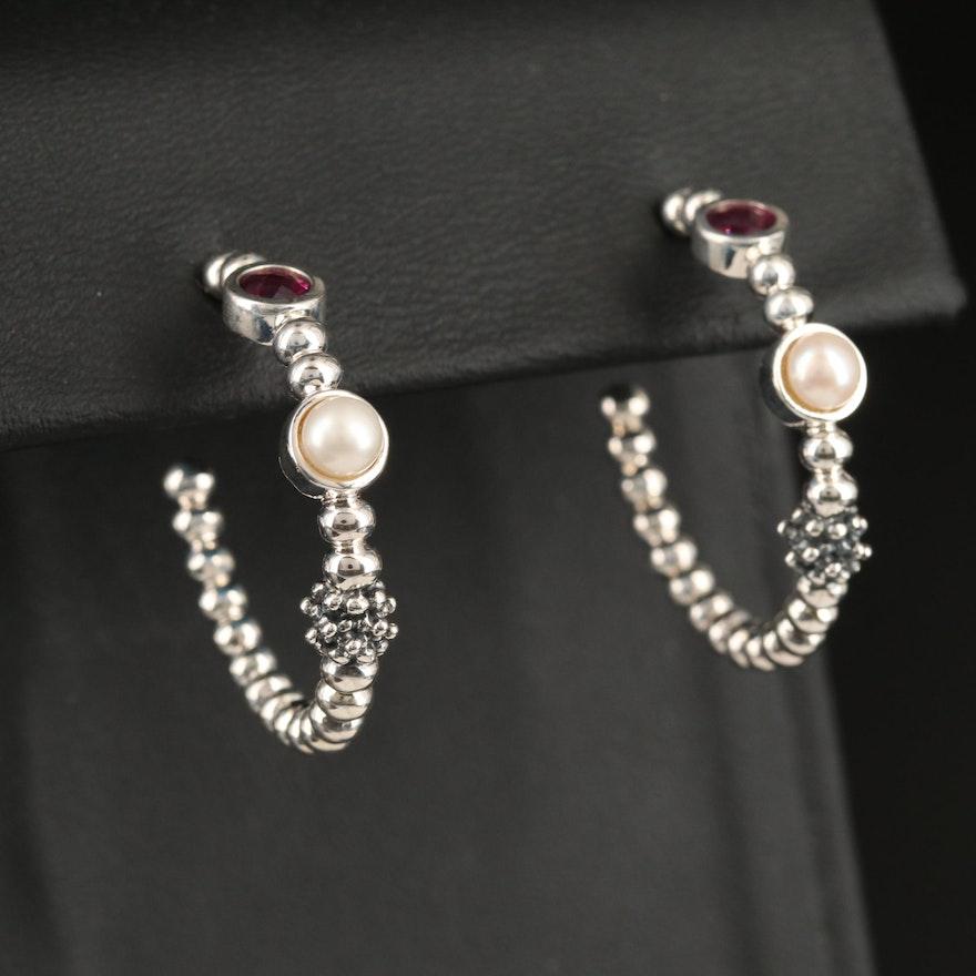 Michael Dawkins Sterling Rhodolite Garnet and Pearl Hoop Earrings