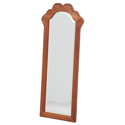 Walnut Scalloped Bonnet  Wall Mirror, Mid to Late 20th Century