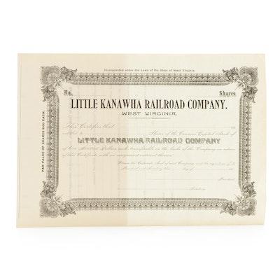Little Kanawha Railroad Company Stock Certificate, Late 19th Century