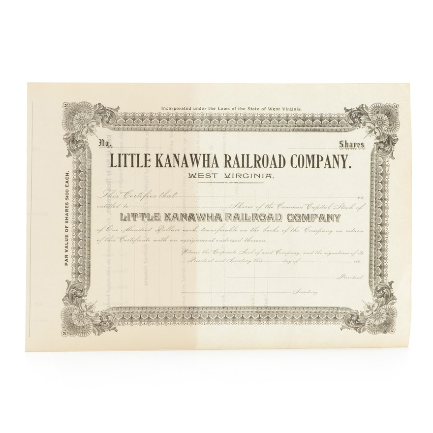 Little Kanawha Railroad Company Stock Certificate, Late 19th Century