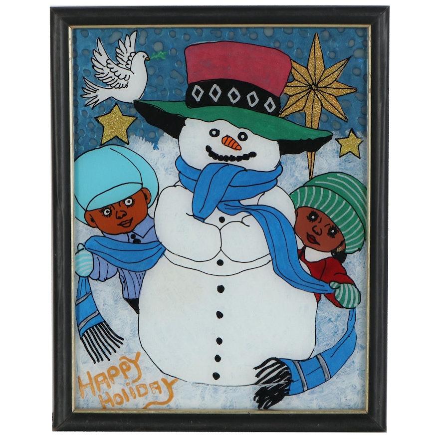"J.R. Holtz II Folk Art Mixed Media Reverse Glass Painting ""Happy Holiday"""