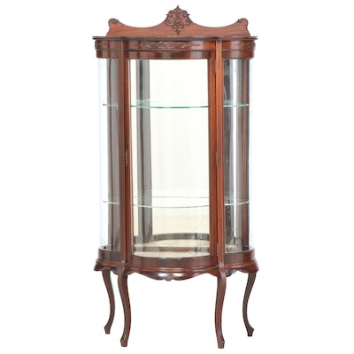 Louis XV Style Mahogany and Curved Glass Display Cabinet, circa 1900