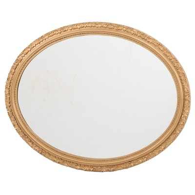 Oval Giltwood Wall Mirror, Late 20th Century