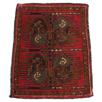1'7 x 2'0 Hand-Knotted Persian Kurdish Village Accent Rug, circa 1970s