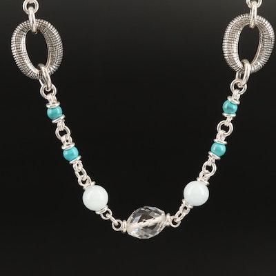 Michael Dawkins Sterling Gemstone Station Necklace