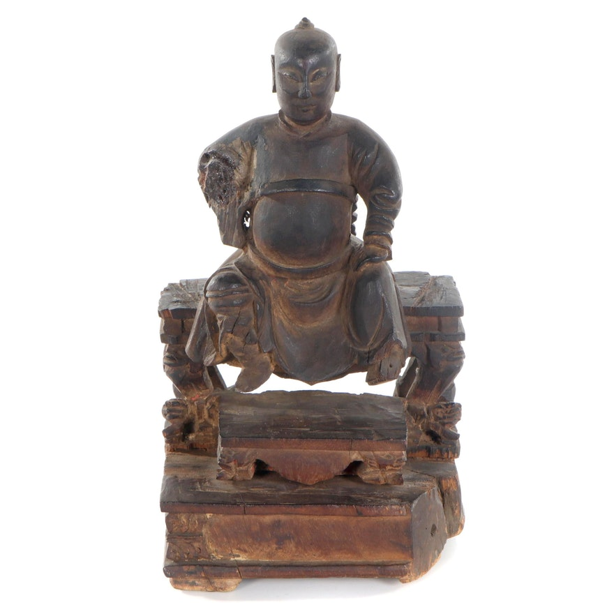 Chinese Wooden Sculpture of Seated Figure, Early 20th Century