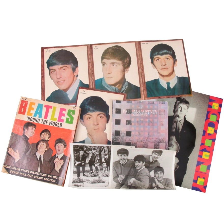 Beatles Memoribilia Including Photgraphs, Magazines, and More