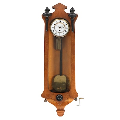 Carved Wood Cased Pendulum Wall Clock, Late 19th/Early 20th Century