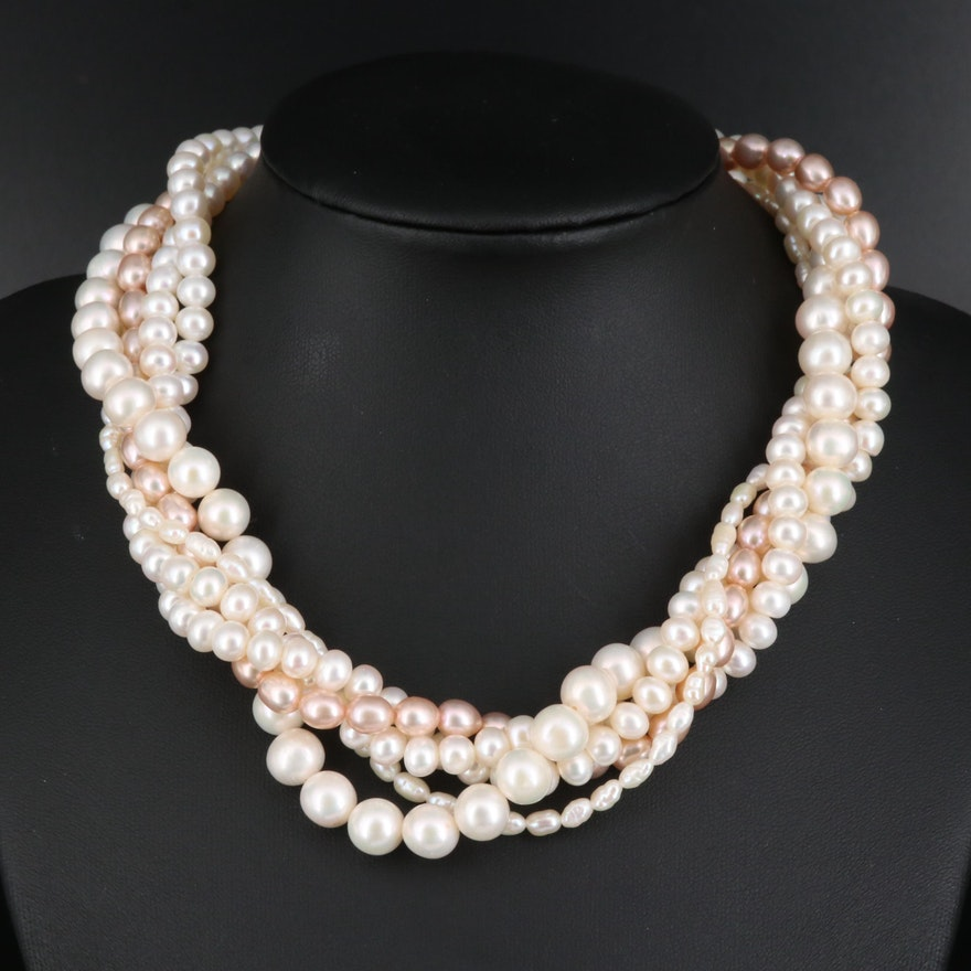 Pearl Multi-Strand Torsade Necklace with 14K Clasp