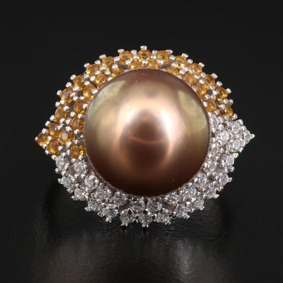 Sterling Pearl and Cubic Zirconia Ring