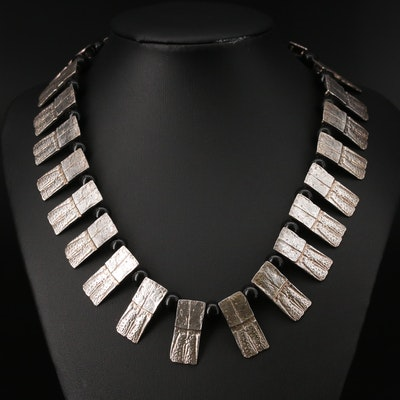 Gogo Sterling Silver Black Onyx Fringe Necklace