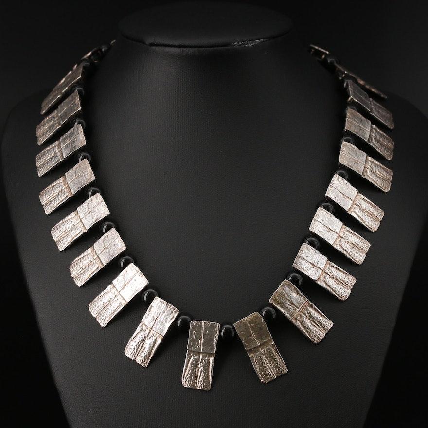 Gogo Sterling Silver Black Onyx Fringe Necklace