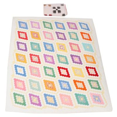 "Handmade ""Diamond Field"" and ""Bear's Paw"" Pieced Quilts"