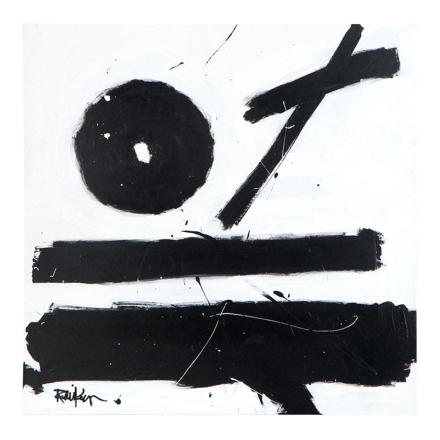 "Robbie Kemper Abstract Acrylic Painting ""Zero X = BW,"" 21st Century"