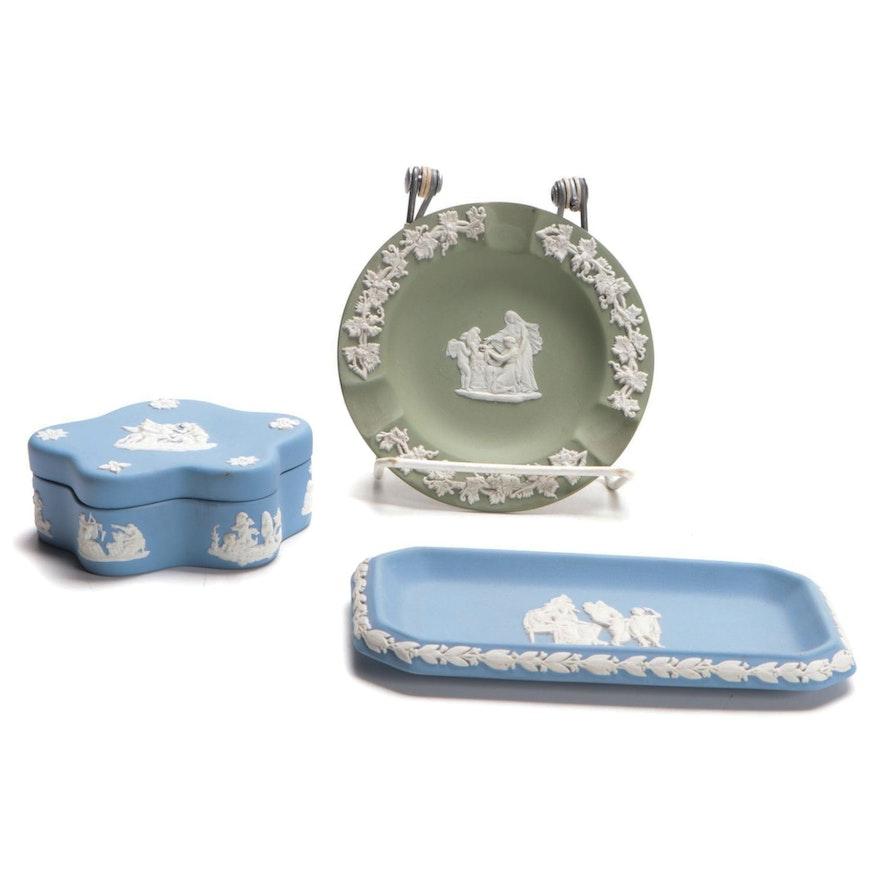 Wedgwood Jasperware Ashtray, Trinket Box, and Tray