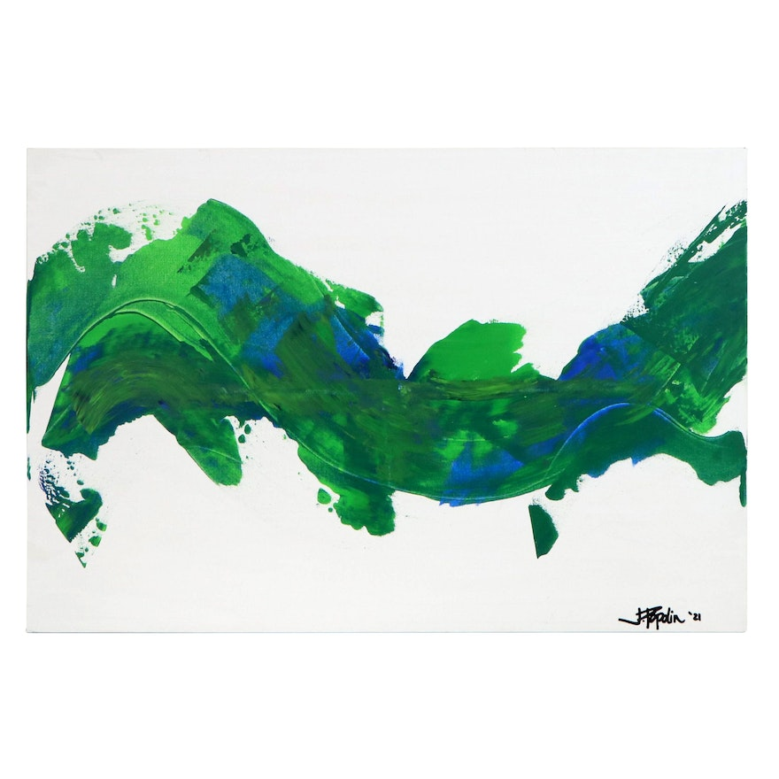 "J. Popolin Abstract Acrylic Painting ""Map of the World,"" 2021"
