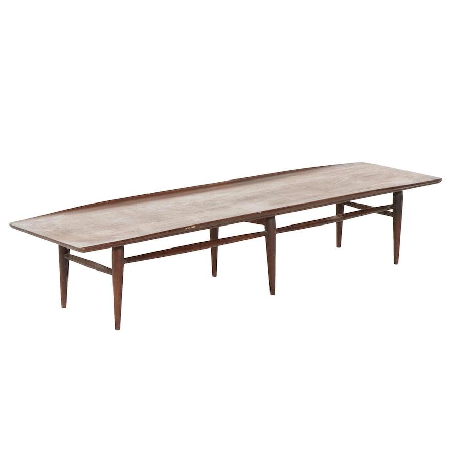 """Bassett """"Artisan Collection"""" Mid Century Modern Walnut Surfboard Coffee Table"""