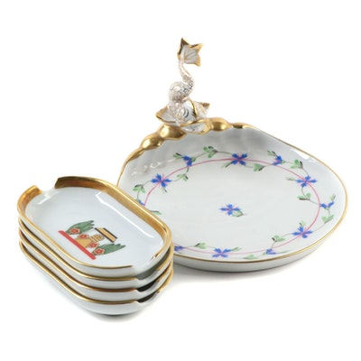 """Cartier Porcelain Ashtrays with Herend """"Blue Garland"""" Porcelain Soap Tray"""