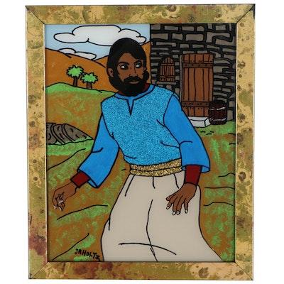 "J.R. Holtz II Folk Art Mixed Media Reverse Glass Painting ""Unhappy Man"""