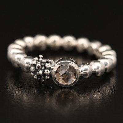 Michael Dawkins Sterling Silver Bezel Set Smoky Quartz Band