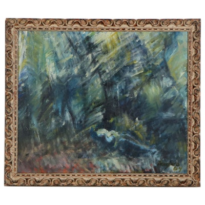 """Enrico Faugno Oil Painting """"Lady Lying in the Forest,"""" 1964"""