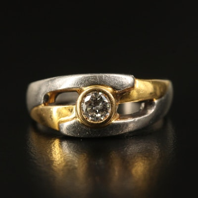 Platinum Diamond Ring with 18K Accent