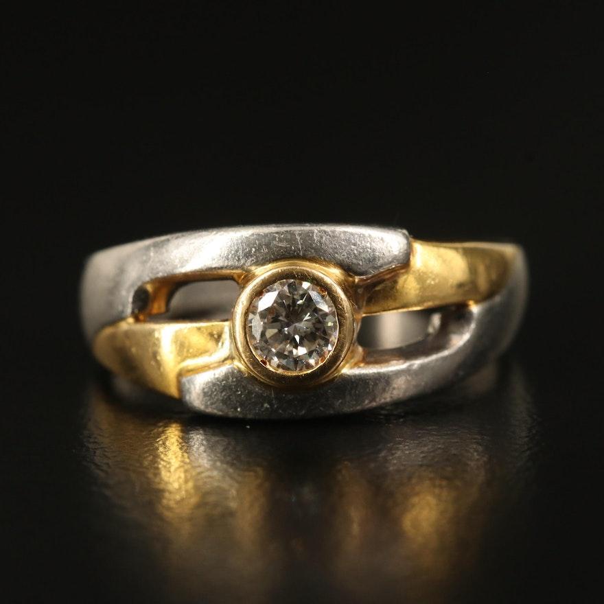 Platinum Diamond Ring with 18K Accent
