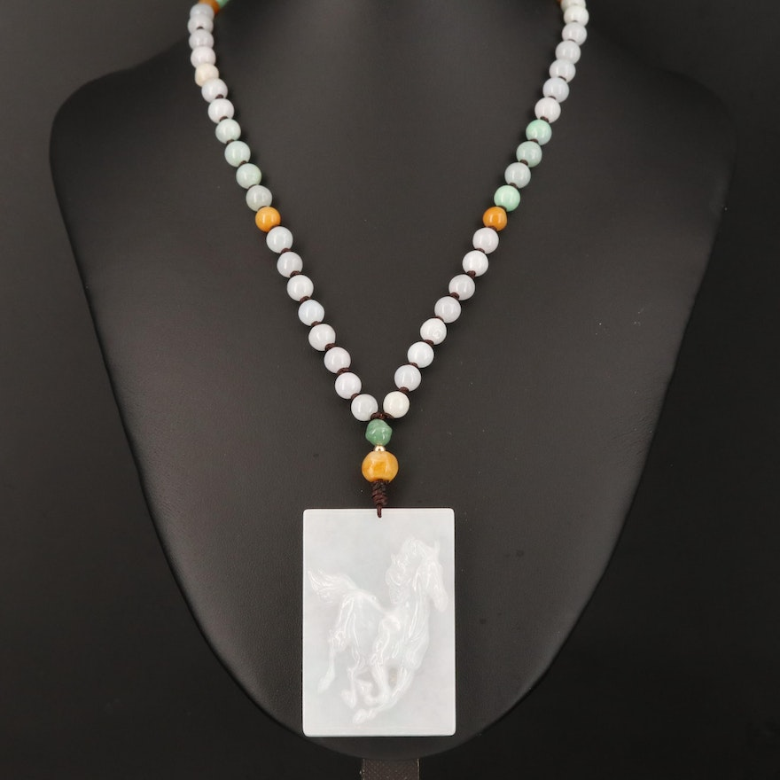 Asian Inspired Jadeite Beaded Necklace with Carved Horse Pendant