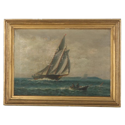 Nautical Oil Painting of Cutter Ship, Early 20th Century