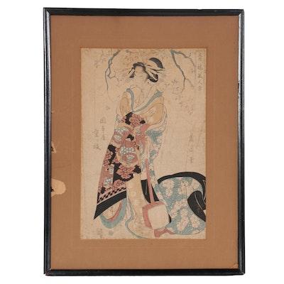 "Kikugawa Eizan Woodblock ""Courtesan Shigerie from the Okamoto House"""