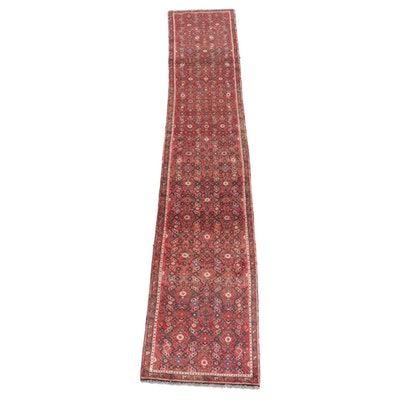 2'4 x 12'6 Hand-Knotted Persian Malayer Carpet Runner, Mid 20th Century