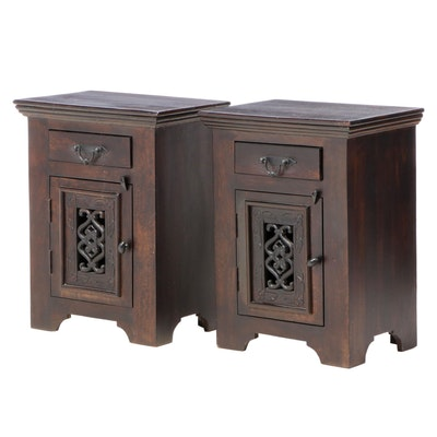 "Pair of Meva ""Mirage"" Contemporary Wood and Iron Nightstands"