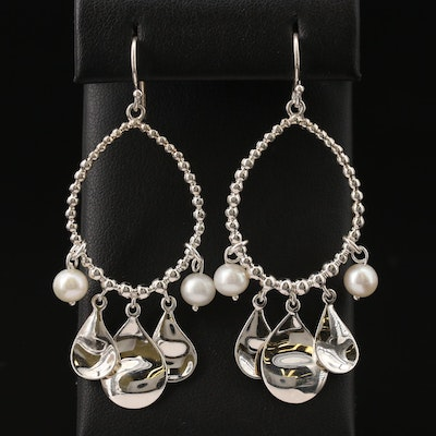 Michael Dawkins Sterling Pearl Dangle Earrings